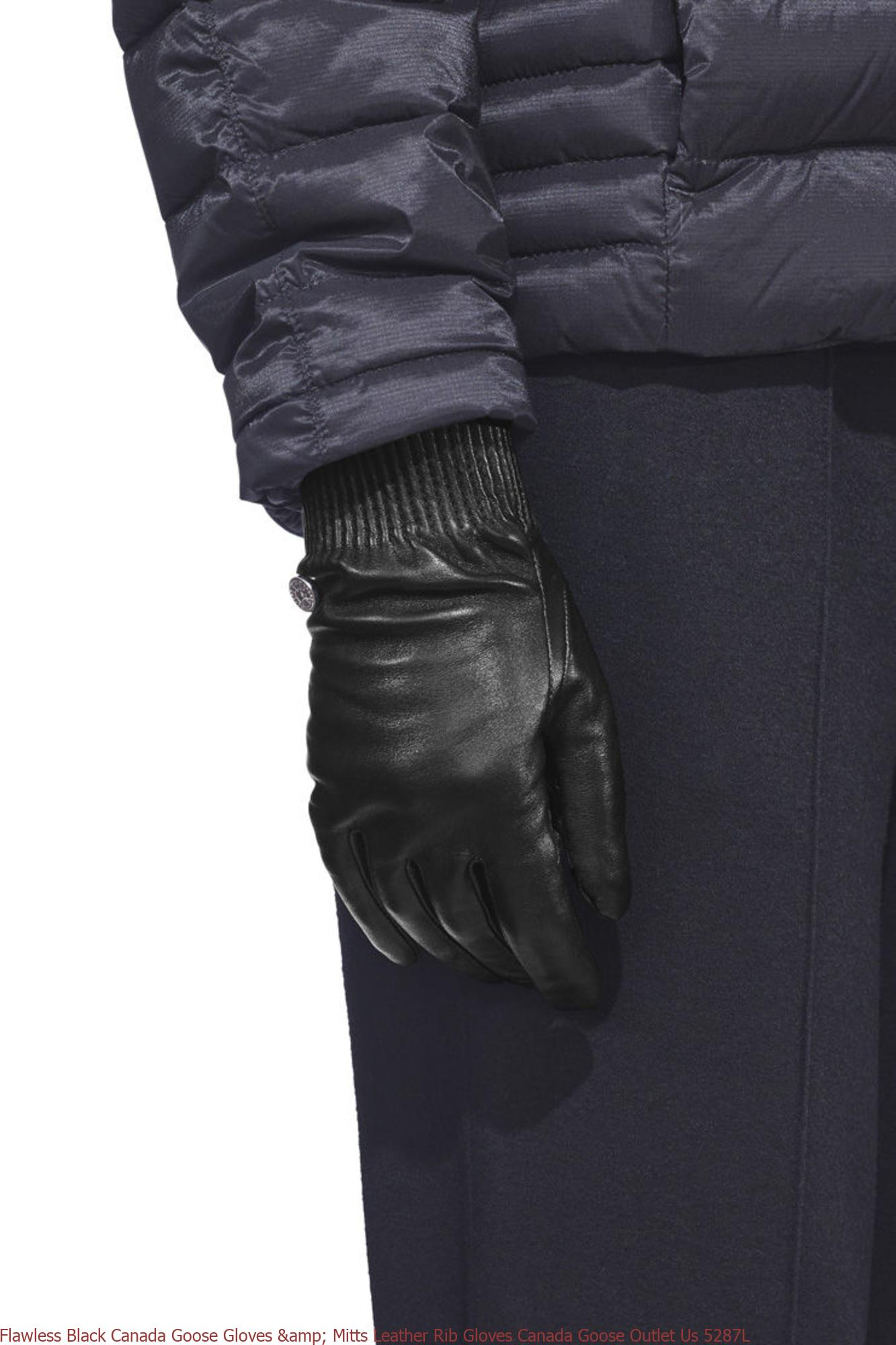 Flawless Black Canada Goose Gloves Mitts Leather Rib