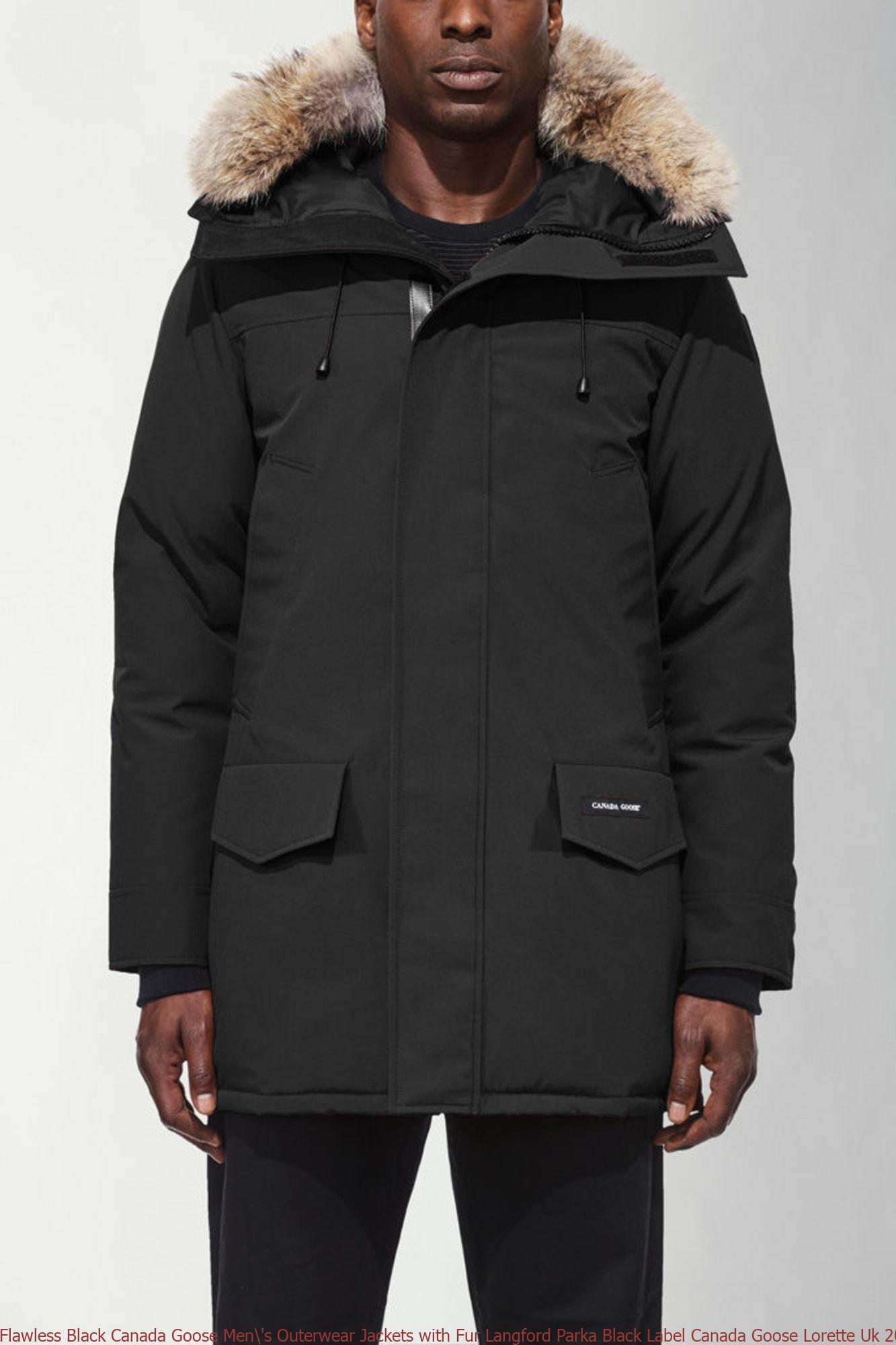 Flawless Black Canada Goose Men's Outerwear Jackets with Fur Langford Parka Black Label Canada Goose Lorette Uk 2062MB